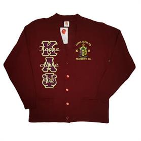 Kappa Alpha Psi Cardigan V Neck Cardigan(Maroon) - Adgreek