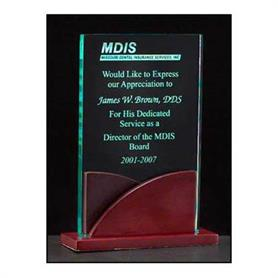 acrylic award on a mahogany finish base(A6804) - Adgreek