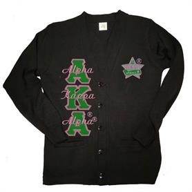 AKA Silver Star V Neck Cardigan(Black) - Adgreek
