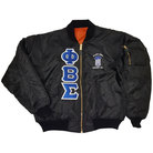 Phi Beta Sigma Flight Jacket(Black)(Royal on White) - Adgreek