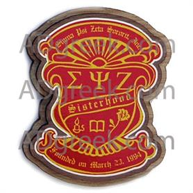 Sigma Psi Zeta  Wooden Crest - Adgreek