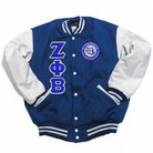 Zeta Phi Beta Leather Varsity Jacket (Royal) - Adgreek