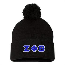Zeta Phi Beta Pom-Pom Knit Cap(Black) - Adgreek